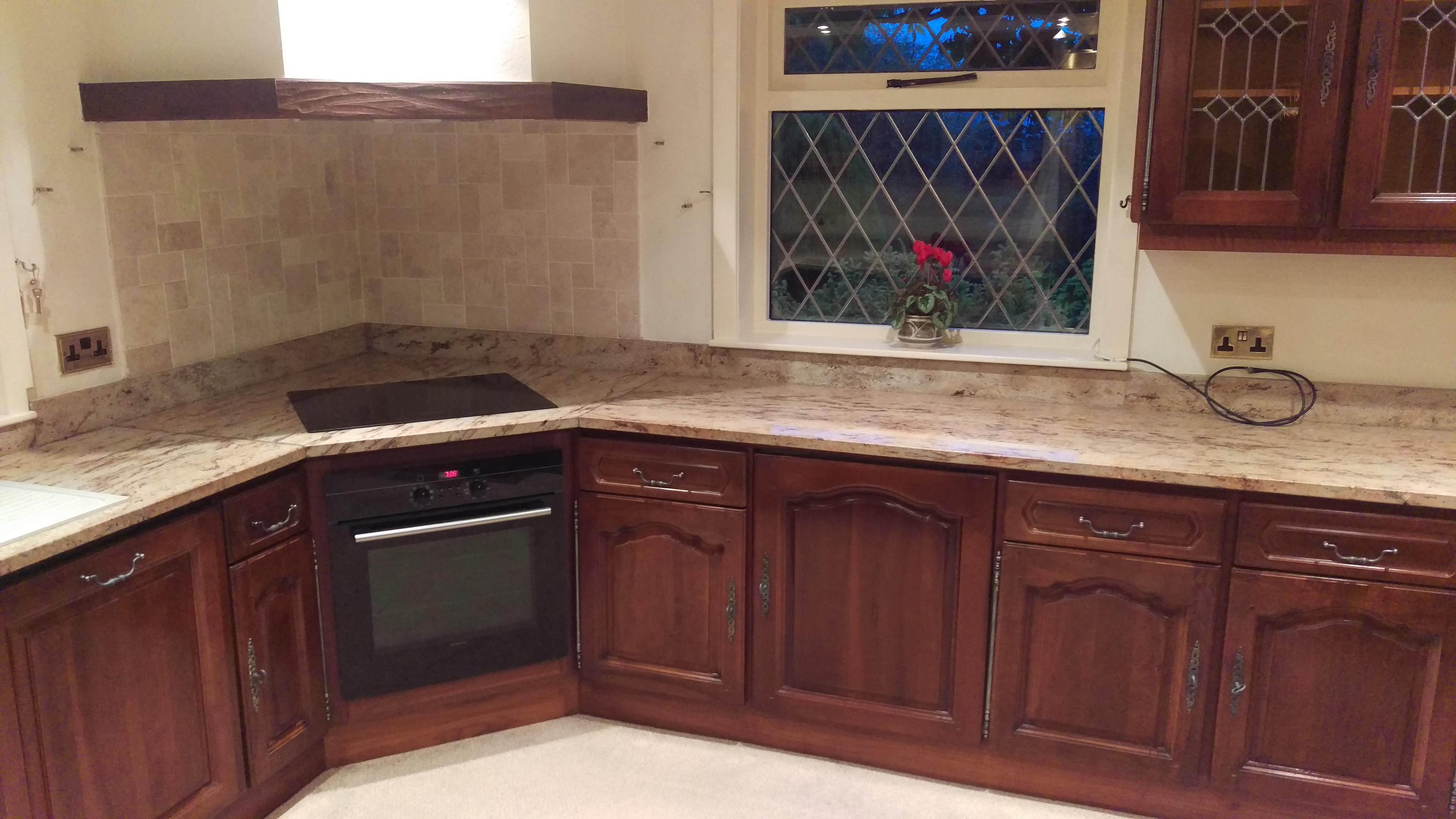 Walnut kitchen now hand painted