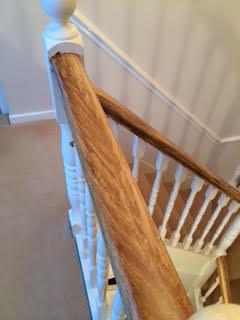 Wood graining a handrail Knutsford